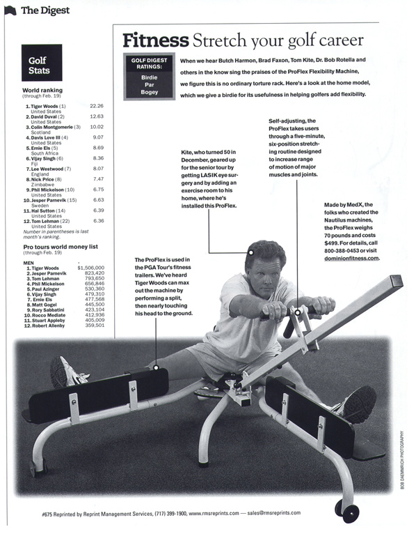 Golf Digest features the ProFlex Stretching Machine